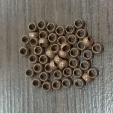 Nano ringi z silikonem - brąz - 100 sztuk