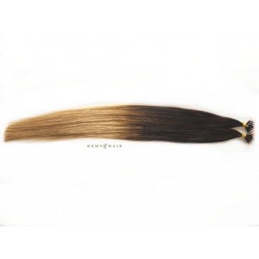 Pasma euro ombre 2/18-ciemny brąz/średni blond - 50cm, 0,80g, pod nano ringi - 20szt