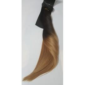 Clip-In Ombre 2/18 - ciemny brąz/średni blond - 50 cm, 160 gram