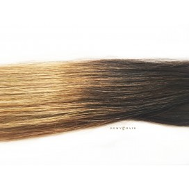 Clip-In Ombre 2/18 - ciemny brąz/średni blond - 50 cm, 85 gram