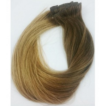 Clip-In Ombre 6/18 - jasny brąz/średni blond - 50 cm, 85 gram