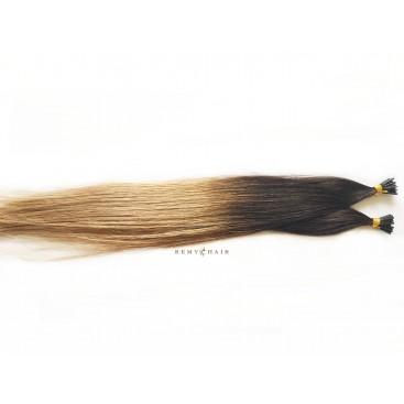 Pasma euro ombre 2/18-ciemny brąz/średni blond - 40cm, 0,7g, pod ringi - 20szt