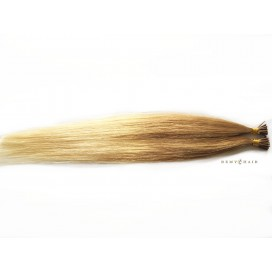 Pasma euro ombre 18/60-średni blond/jasny blond - 40cm, 0,7g, pod ringi - 20szt