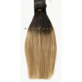 Clip-In Ombre 2/18 - ciemny brąz/średni blond - 40 cm, 120 gram