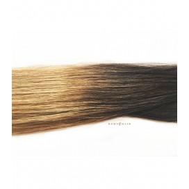 Pasma euro Ombre 2/18 - ciemny brąz/średni blond- 50 cm, 0,80g, keratyna pod zgrzewy - 20szt