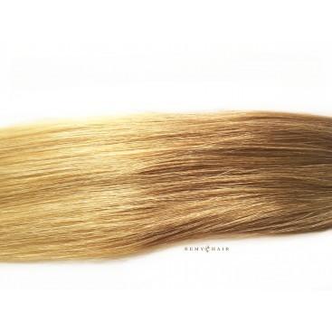 Pasma euro 14/22 - karmelowy blond/beżowy blond - 50cm, 0,80g, keratyna pod zgrzewy - 20szt