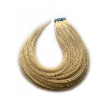 Tape in rosyjskie - 613/16 - bardzo jasny blond/beżowy blond - 40cm, 25gram