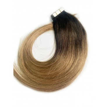 Tape in rosyjskie OMBRE 3/12 - ciemny brąz/średni ciepły blond- 40cm, 25gram