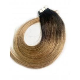 Tape in rosyjskie - OMBRE 3/12 ciemny brąz/średni ciepły blond - 55 cm, 25gram